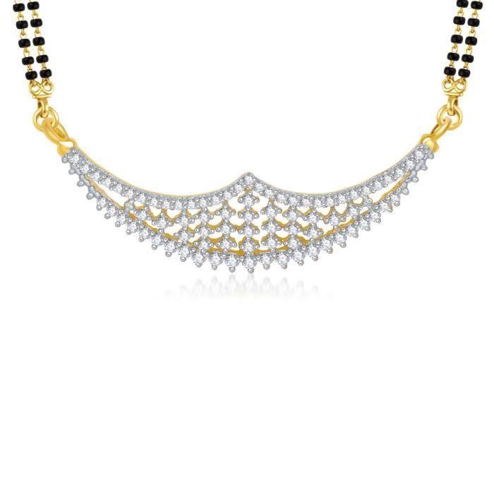 Délicat des femmes cloutés Taniya Cz Gold & plaqué rhodium galsutra pendentif pour 838 SBEMK