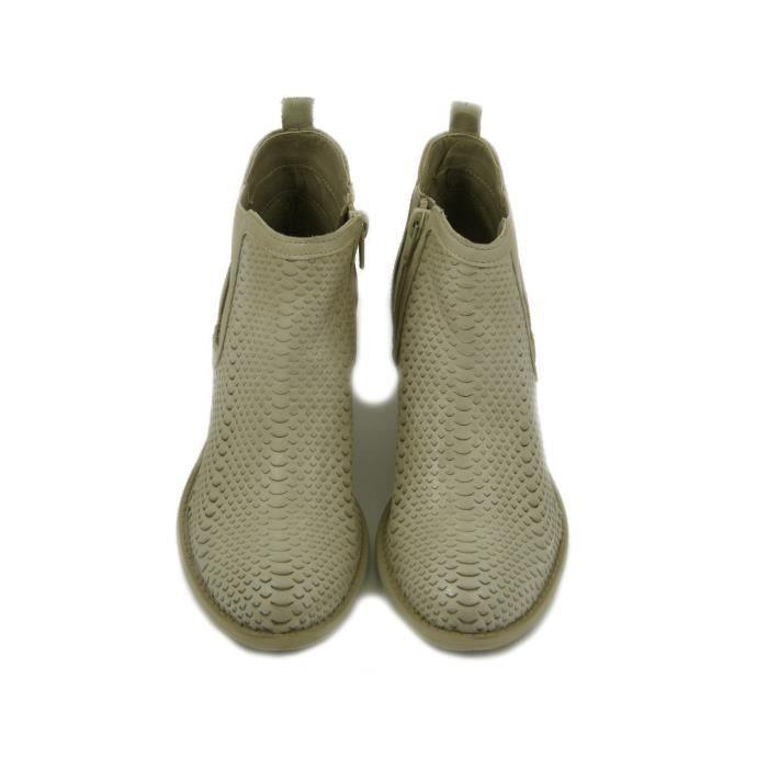 PREGUNTA bottine en cuir beige, imprimé python, avec 5cm talon et semelle en caoutchouc, 7422082 E17