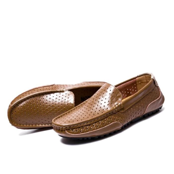 Mocassin Hommes Cuir Loafer Detente Casual Chaussure DTG-XZ089Marron44 nXfpdNyUKn