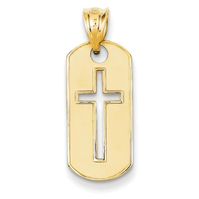 Poli 14 carats-Pendentif croix découpe