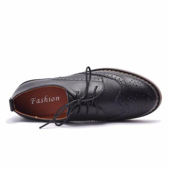 4bcb8afde4790d Moonwalker Chaussures de Ville Femme à Lacets en Cuir Derby Brogues Noir  Noir - Achat / Vente derby - Soldes d'été Cdiscount