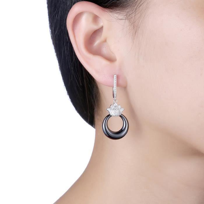 Boucles doreilles femme en Plating Platinum Lotus diamant rond en céramique Noire Swarovski Elements Cristal Boucles doreilles