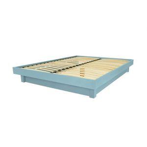 STRUCTURE DE LIT Lit plateforme bois massif pas cher (Bleu Pastel -