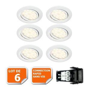 SPOTS - LIGNE DE SPOTS LOT DE 6 SPOT LED ENCASTRABLE COMPLETE ORIENTABLE