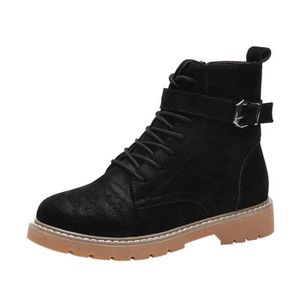 DERBY Femmes Flat Round Toe Lace-up Zip Leather Boots Ca