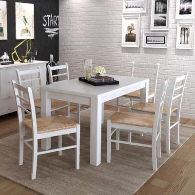 Magnifique 6 pcs Chaise de salle a manger peinture blanche - Achat ...