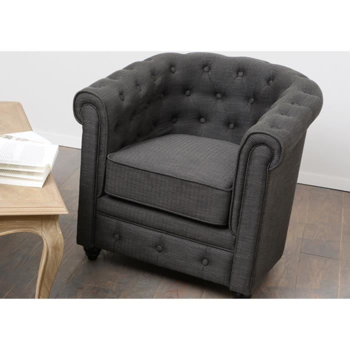 Fauteuil chesterfield tissu chevron gris anthracite achat vente fauteuil gris cdiscount - Fauteuil chesterfield tissu ...