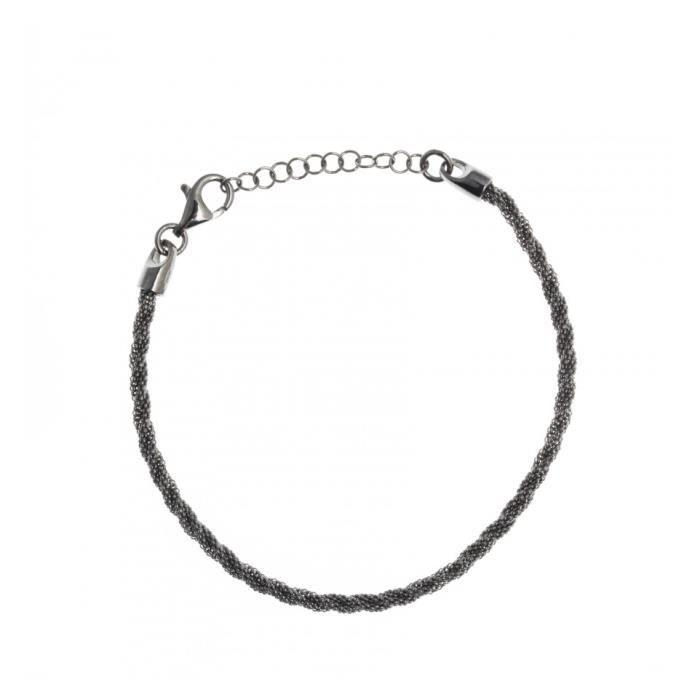 Bracelet argent rhodié noir - 17+3cm Gris