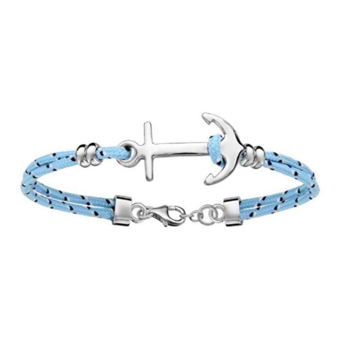 Bracelet Argent 925 2 Rangs Corde Bleu Ciel Ancre Marine