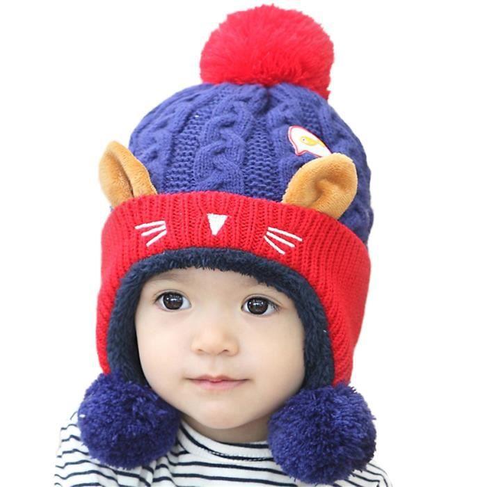 MiVogue Bonnet Pour Bébé Hiver Cache Oreille Petit Enfant Garçon Fille  Crochet En Laine Tricoté Chaud-070-Rouge1 8a5a9d222da