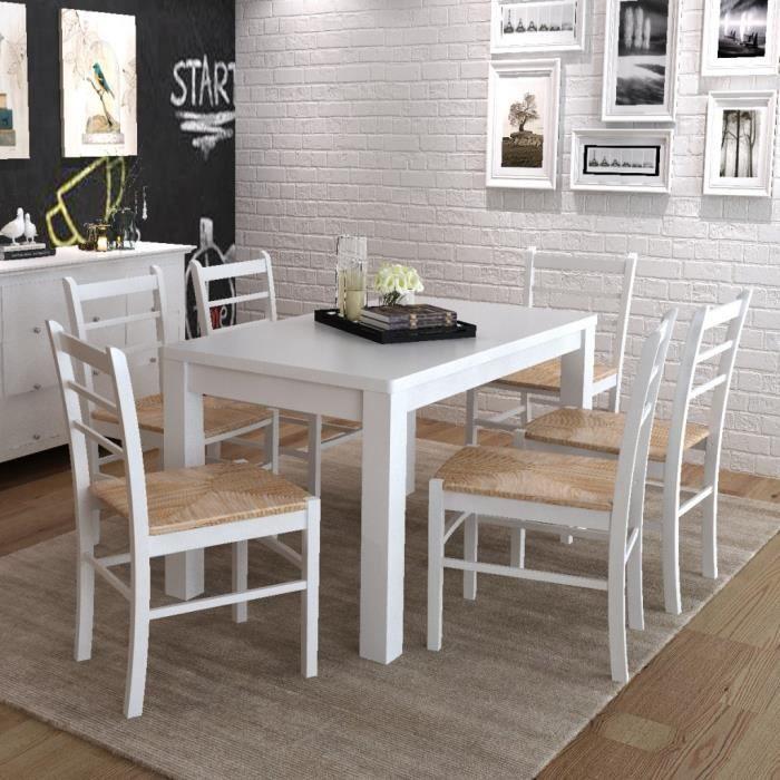 Magnifique 6 pcs chaise de salle a manger peinture blanche for Chaise blanche salle a manger