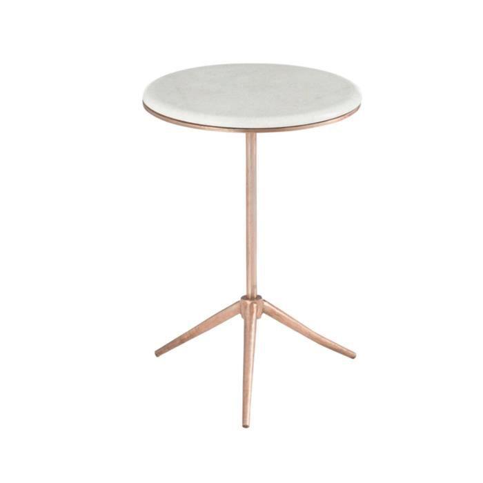 table gigogne ronde 38x55cm sur trépier en fer cuivre - achat