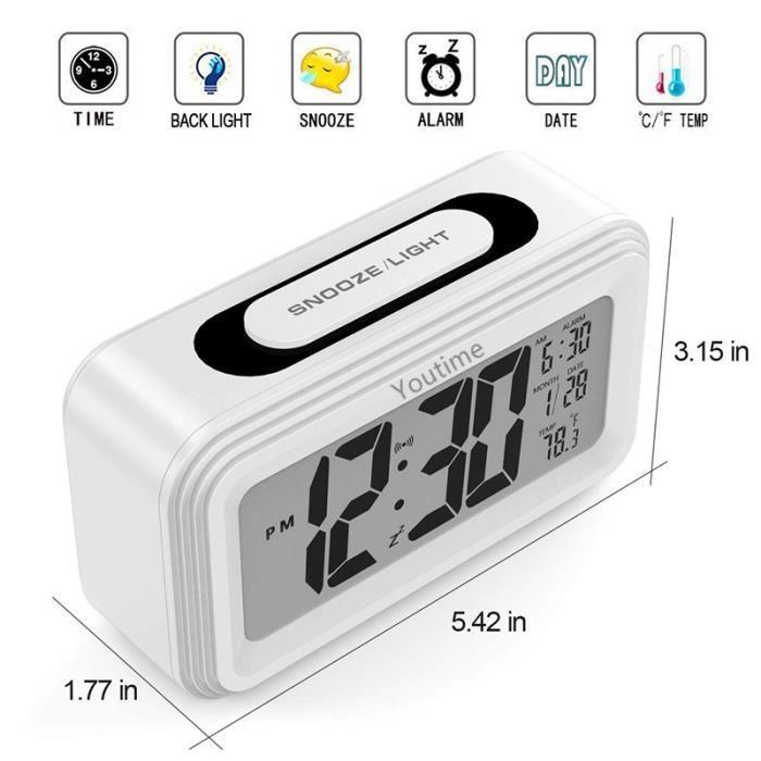 Youtime® Réveil Matin À Piles Grand Écran Lcd,affichage Date,température,fonction Snooze,mode En Veille Mode