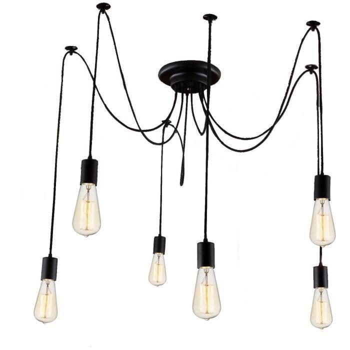 6e27 Rétro Lampe Suspension Diy Lustre Industriel Grenier Lustre