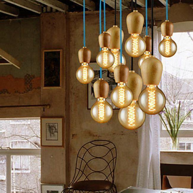 lookshop lustre contemporain en bois et boule en verre. Black Bedroom Furniture Sets. Home Design Ideas