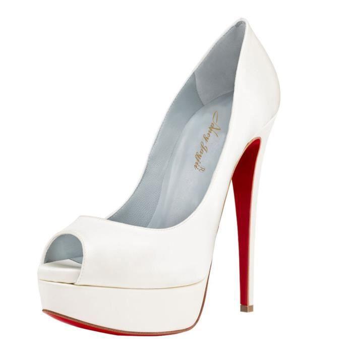 2015 femmes fabriqués à la main Platform Pumps peep toe fond rouge en cuir verni blanc Stiletto parti Talons Chaussures 15cm