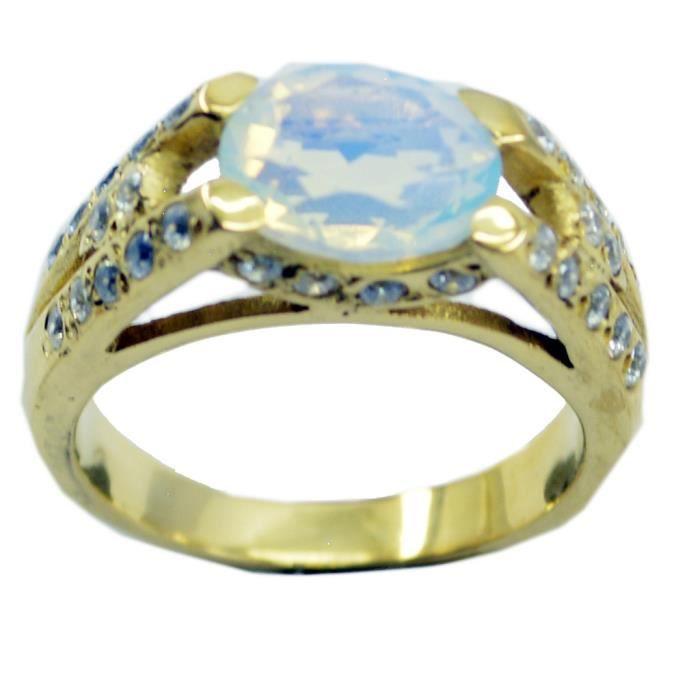 feu anneau opale cz - anneau blanc - Bague en or plaqué - bague plaqué or blanc