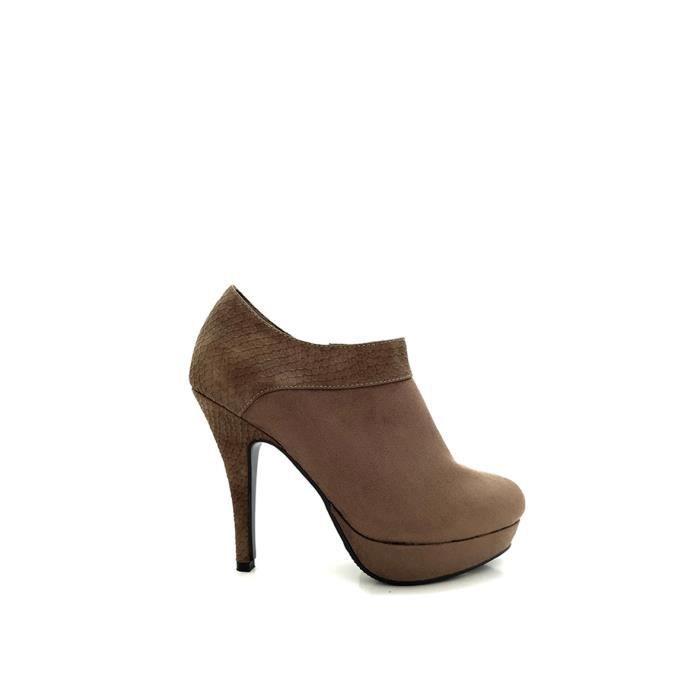 CHIC NANA . Chaussure femme bottine à talon aiguille plateforme, aspect daim, talon & cheville motif croco.