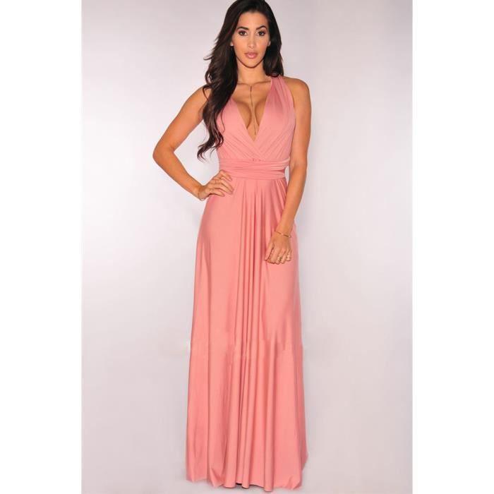 4ba72539f39 Robe de soirée cocktail robe de plage femme haute taille sexy longue  élégante moderne multi - fonction rose