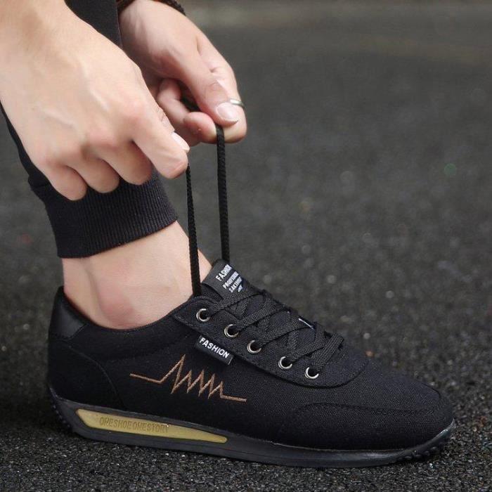 Chaussure Course A Pied Lacets Amorti Assurer Style Caoutchouc Homme Or-noir 42 R00655425_8010 3lPHls