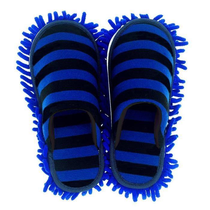 Une paire de Chaussure Serpillères, en Chenille, Microfibre type chausson, semelle amovible, lavable pour nettoyer le plancher, desi