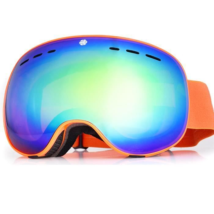 Lunettes de Ski UV400 Masque de Snowboard Protection Goggle Frameless Homme  Femme Anti-Buée Coupe-Vent Lunette Verres sphériques e46914e8fca1