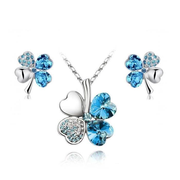 Parure trèfle cristal SWAROVSKI ELEMENTS plaqué or blanc couleur Bleu turquoise