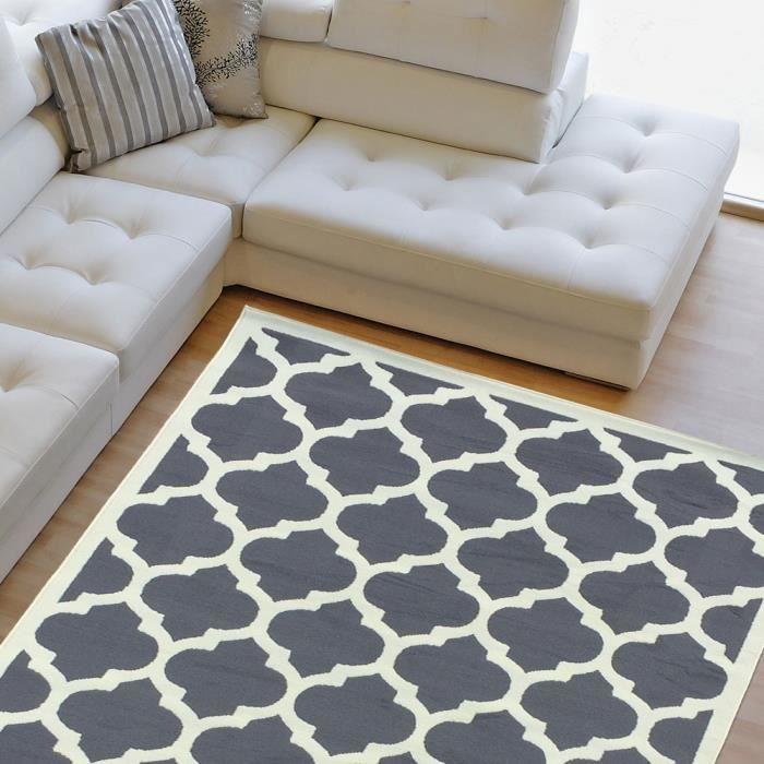 tapis 140x200 gris achat vente tapis 140x200 gris pas cher cdiscount. Black Bedroom Furniture Sets. Home Design Ideas