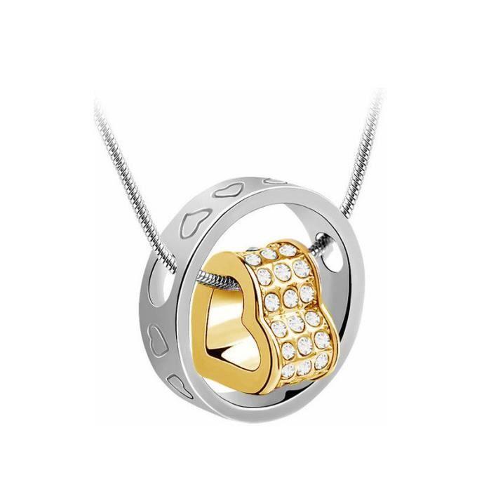 BestOfBijoux® - Coeur Flottant 2 Tons - Collier Femme - Plaqué Or - Cristal [45cm/17.7inch]