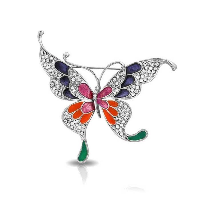 Broche Dorée Papillons Sertie Cristaux Et Email