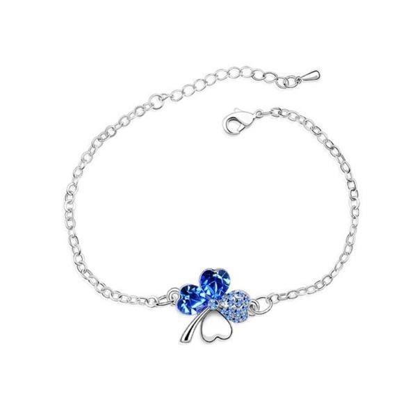 Parure Collier, Bracelet, Boucles dOreilles Trèfle Cristal de Swarovski Elements Bleu