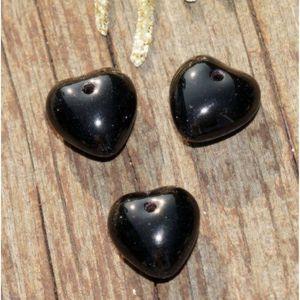 Perles Noirs opaques Cœur des Perles de Verre Coeur Perle