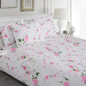 HOUSSE DE COUETTE ET TAIES Parure de lit 100% coton à motif floral rose houss