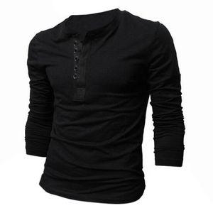 T-SHIRT Tee-Shirt a la mode a manches longues noir pour ho ... 0aad7a88912e