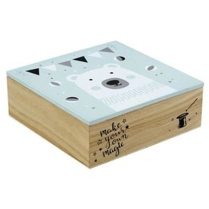 CAISSE BOIS Boite carrée en bois pour enfant motif ourson - Di