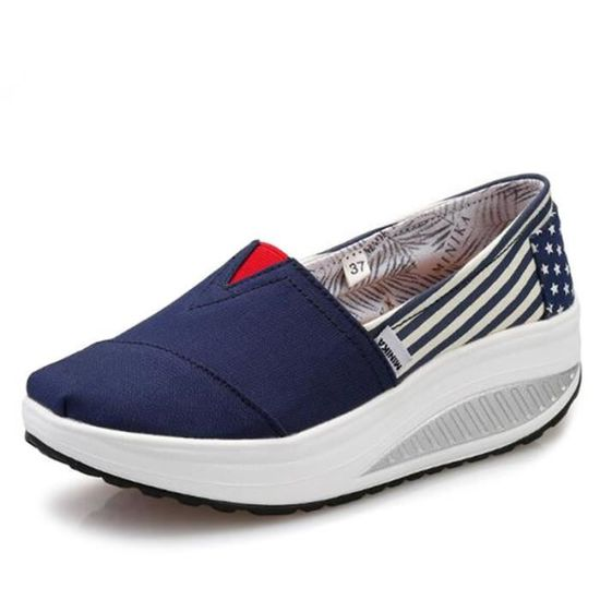Classique Femmes Detente Mode Chaussure Yst épais Chaussures Fond xz087bleu38 FKJcl1