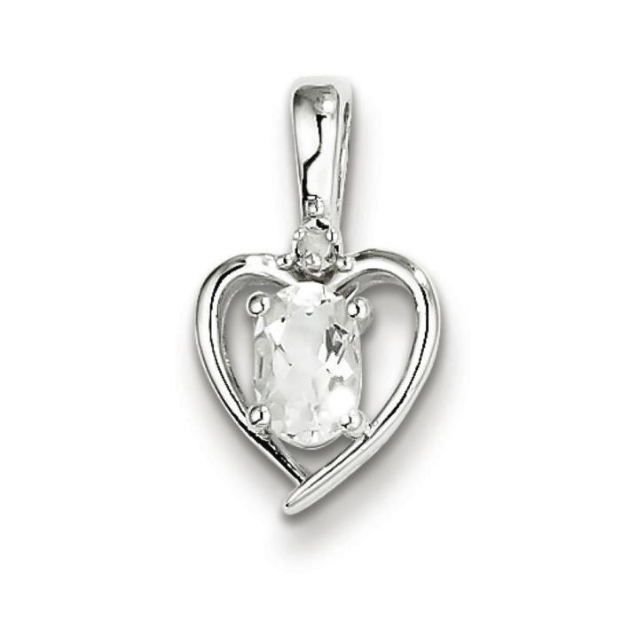 Argent Sterling diamant et topaze blanche pendentif