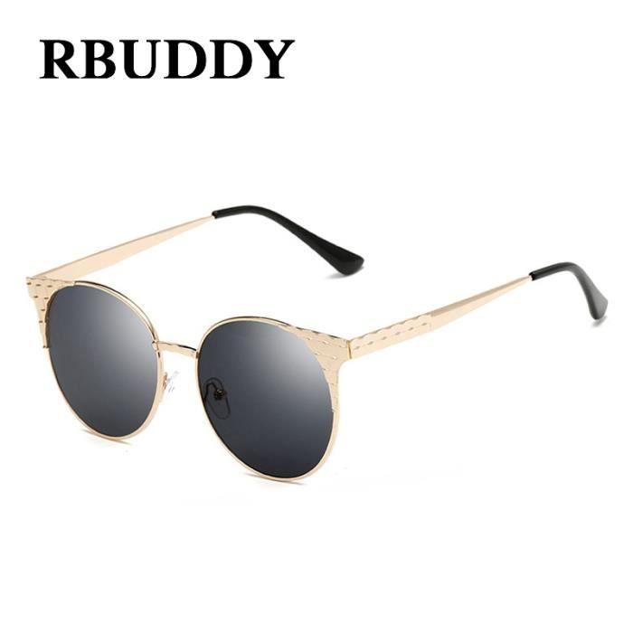 160388cc1a7eb RBUDDY classique Femmes Lunettes de soleil rondes oeil de chat rétro UV400  Shades Lunettes de soleil Lattice Vintage Métal Femme
