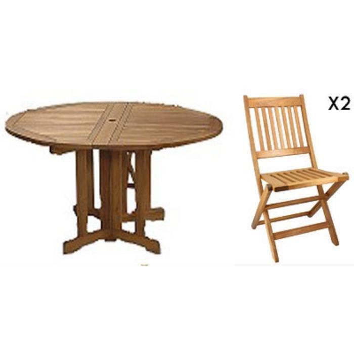 Table ronde pliante en acacia + 2 chaises pliantes en acacia FSC Taylor