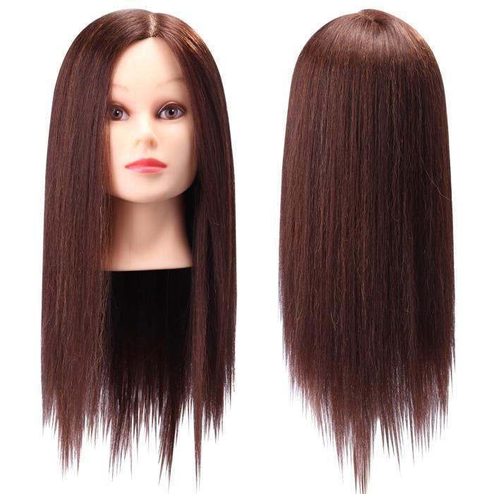 95 cheveux brun long naturel t te coiffer coiffure femme mannequin titulaire achat vente. Black Bedroom Furniture Sets. Home Design Ideas
