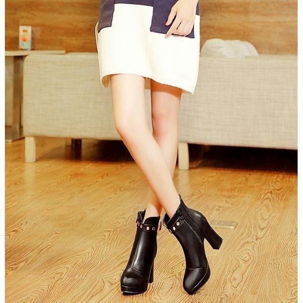 Bottes à talons hauts doux et sexy bottes automne et l'hiver des bottes ainsi que des bottes de velours, noir 35