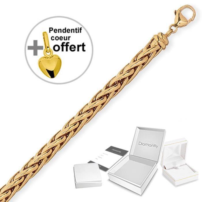 DIAMANTLY Bracelet maille palmier or 750/1000° - 19 cm + cœur offert