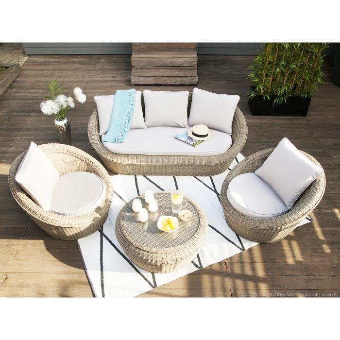 Salon de jardin bas 5 places : canapé 3 places + 2 fauteuils résine ...