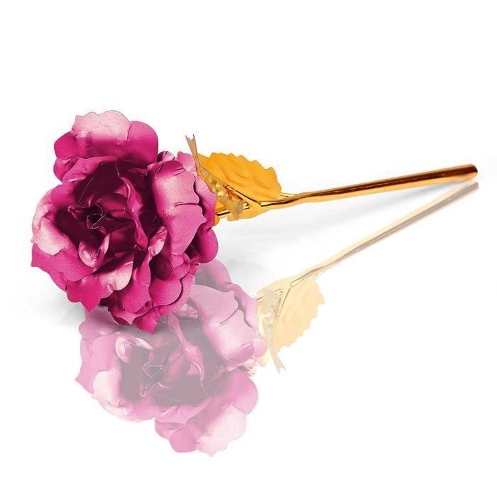 Plaque Or 24 K Rose Fleur Rose Avec Boite Cadeau Pour La Saint