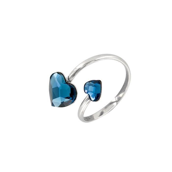 Monella - Bague réglable Coeurs en argent 925/1000e rhodié, Cristal de Swarovski Denim blue
