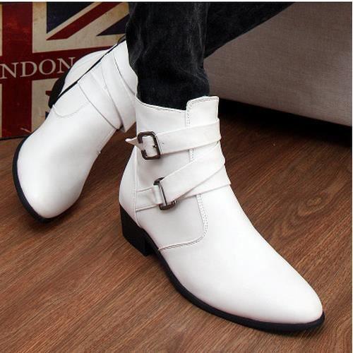 la cheville de bottes d'hiver zip cuir chaussur...