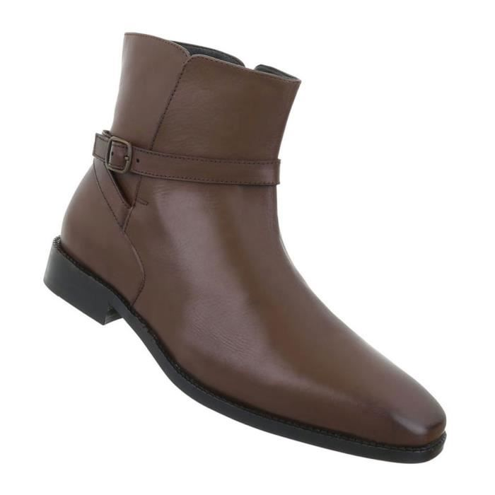 Chaussures Hommes Bottes Used optique cuir marron 48