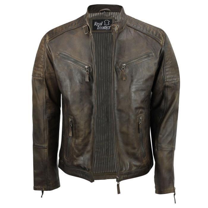 Veste En Cuir Véritable Avec Fermeture éclair Pour Homme Marron Style Biker  Rétro Vintage Urbain 1HBPHH Taille-XS 681ee9586c1