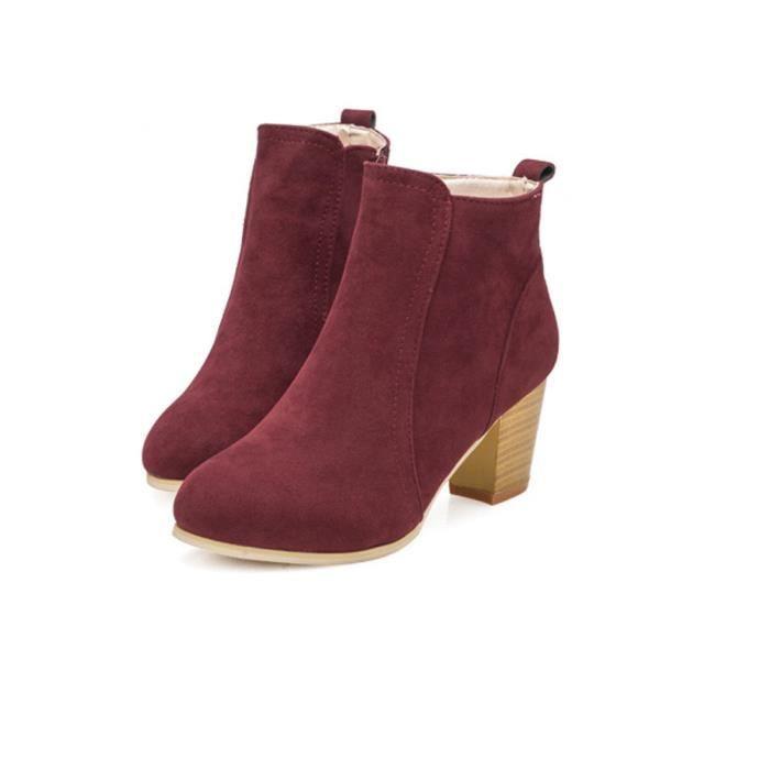 Hauts Bottes D'automne À Cheville Chaussures Talons Martin rouge Femmes ttBfwq