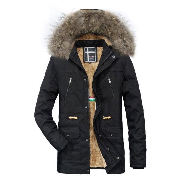 Fourrure longue Homme En Cordon Manteau Boutique Serrage Fausse Vêtements Col mi Coton Chaud Hugo De Hiver ERqRWY7